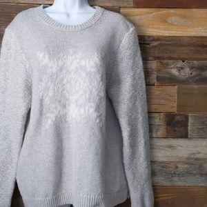 LOFT XL gray knit crew neck long sleeve sweater